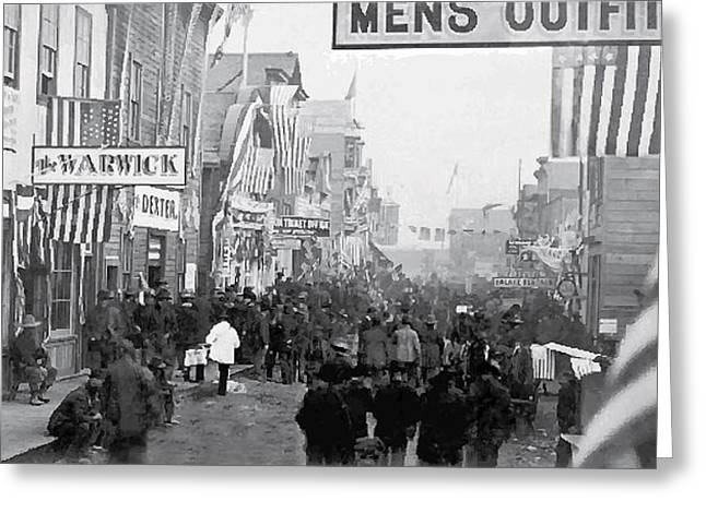 Klondike Gold Rush Greeting Cards - Nome Alaska Main St Gold Rush 1900 Greeting Card by Daniel Hagerman