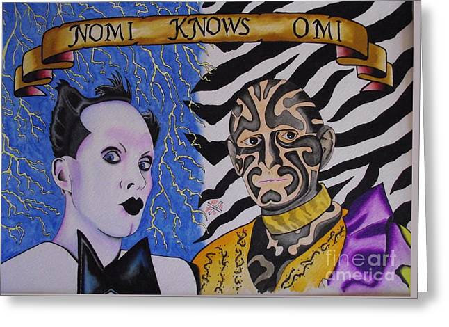 Tattoo Flash Paintings Greeting Cards - Nomi knows Omi Greeting Card by Kev G