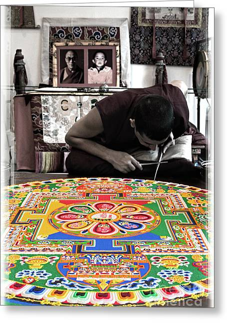 Tibetan Buddhism Greeting Cards - Non Attachment - Sand Mandala Greeting Card by Steven Cragg