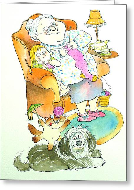 Elderly Female Greeting Cards - Nona Grandma Pen & Ink And Wc On Paper Greeting Card by Maylee Christie