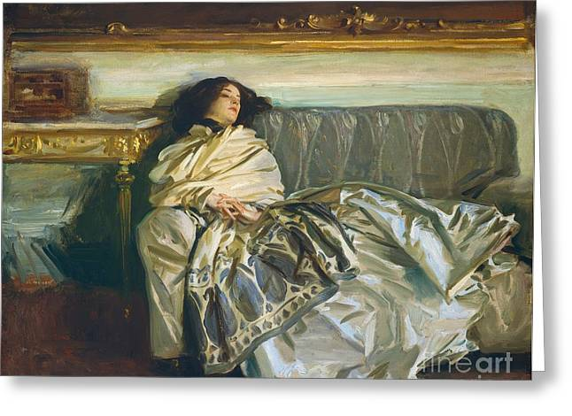 Couch Greeting Cards - Nonchaloir Repose Greeting Card by John Singer Sargent