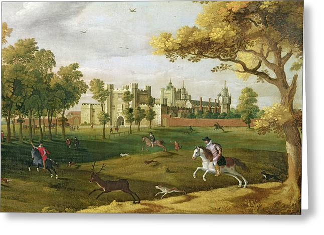 Hounds Paintings Greeting Cards - Nonsuch Palace In The Time Of King Greeting Card by Flemish School