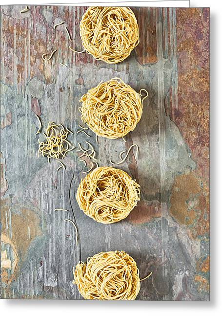 Italian Kitchen Greeting Cards - Noodles Greeting Card by Tom Gowanlock