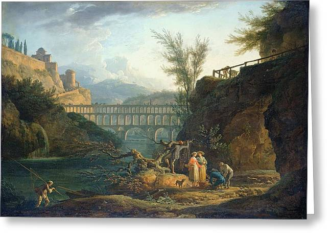 River Paintings Greeting Cards - Noon, 1760 Greeting Card by Claude Joseph Vernet