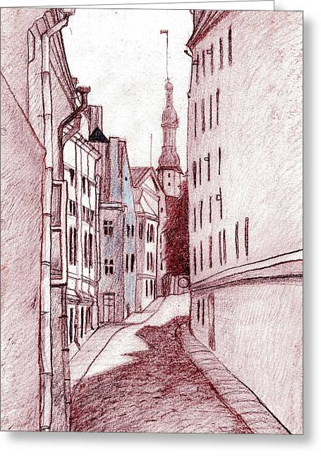 Tallinn Drawings Greeting Cards - Noon Greeting Card by Serge Yudin