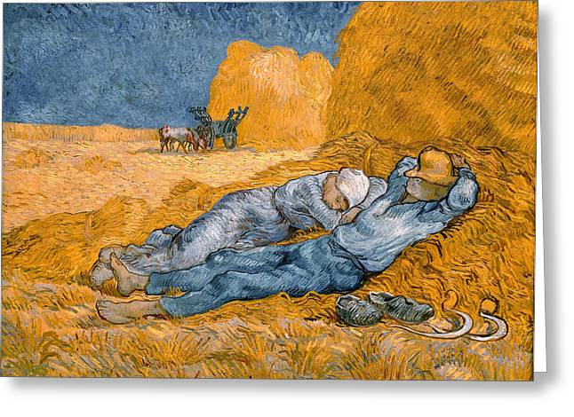 Saint Remy Greeting Cards - Noon the siesta after Millais Greeting Card by Vincent Van Gogh