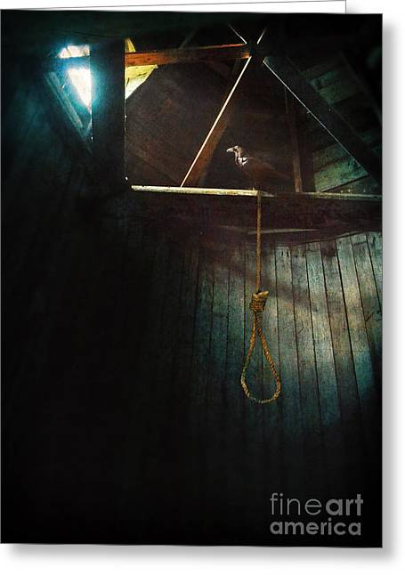 Rafters Greeting Cards - Noose and Raven Greeting Card by Jill Battaglia