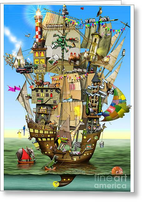 Aeroplane Greeting Cards - Norahs Ark Greeting Card by Colin Thompson