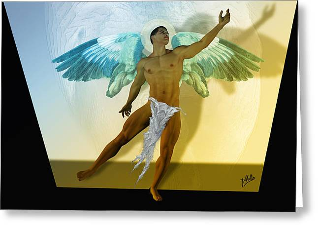 Angel Wings Mixed Media Greeting Cards - Cherub By Quim Abella Greeting Card by Joaquin Abella