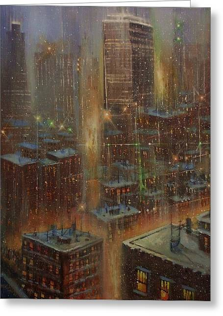 City Lights Greeting Cards - Noreaster New York City Greeting Card by Tom Shropshire