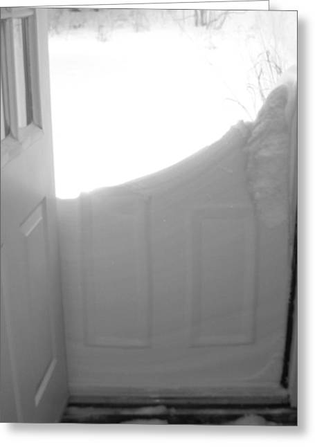 Drifting Snow Greeting Cards - Noreaster Outside The Door Greeting Card by Patricia Sundik