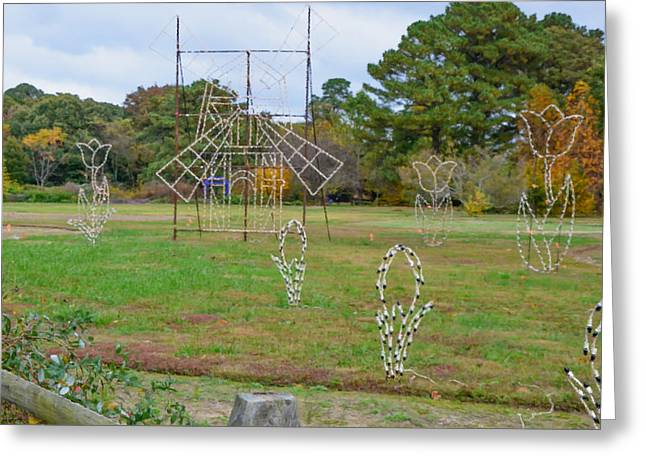 Green Day Paintings Greeting Cards - Norfolk botanical garden of lights Greeting Card by Lanjee Chee