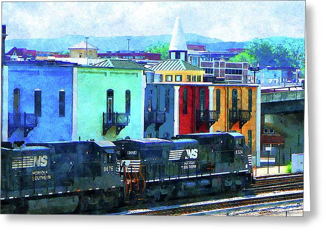 Cities Greeting Cards - Norfolk Southern 8324 and 8676 Locomotives Greeting Card by Susan Savad