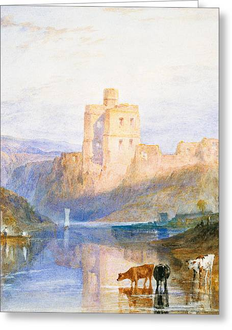 Reflections Of Sun In Water Greeting Cards - Norham Castle An illustration to Marmion by Sir Walter Scott Greeting Card by Joseph Mallord William Turner