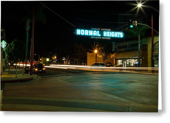 Crosswalk Greeting Cards - Normal Heights Neon Greeting Card by John Daly
