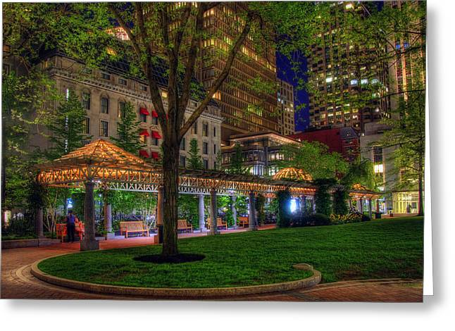Recently Sold -  - Office Space Greeting Cards - Norman B Leventhal Park - Boston Greeting Card by Joann Vitali