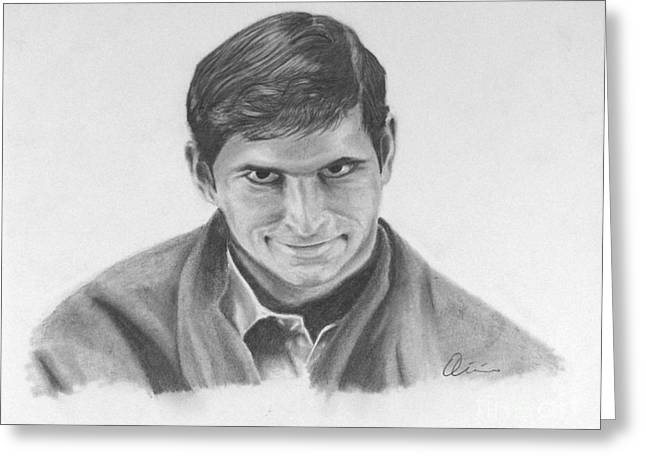 Bates Motel Greeting Cards - Norman Bates Portrait Greeting Card by M Oli