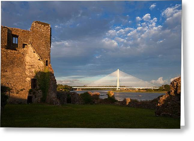 Cable-stayed Bridge Greeting Cards - Norman Granny Castle, With The River Greeting Card by Panoramic Images