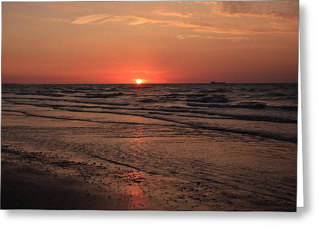 Sunset Prints Greeting Cards - Normandy Beach At Sunset Greeting Card by Aidan Moran