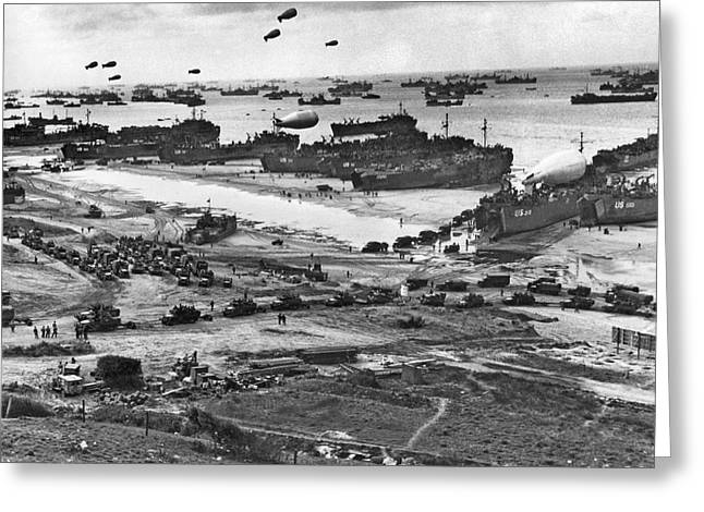Normandy Beach Supplies Greeting Card by Underwood Archives
