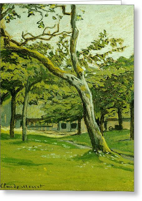 Signature Pastels Greeting Cards - Normandy Farm under the Trees Greeting Card by Claude Monet