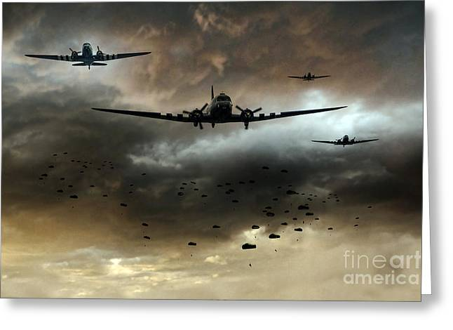 Usaac Greeting Cards - Normandy Invasion Greeting Card by J Biggadike