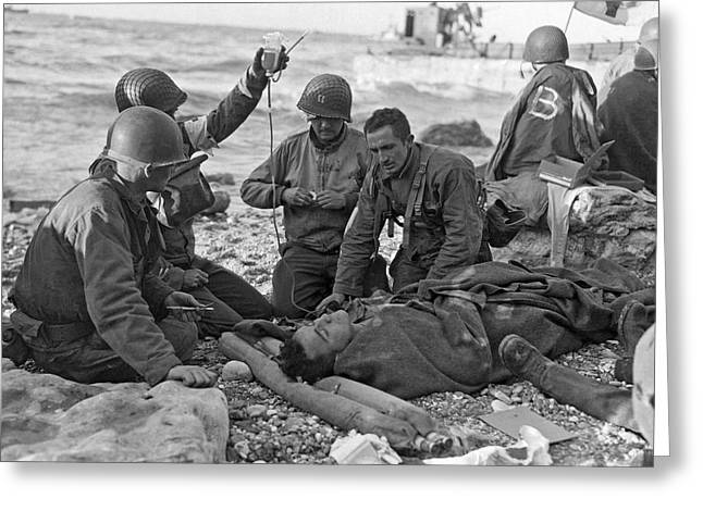 Normandy Invasion Medics Greeting Card by Underwood Archives