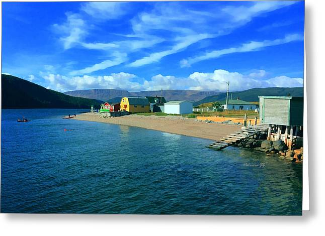 Kayak Mixed Media Greeting Cards - Norris Point Newfoundland Greeting Card by Patricia Januszkiewicz