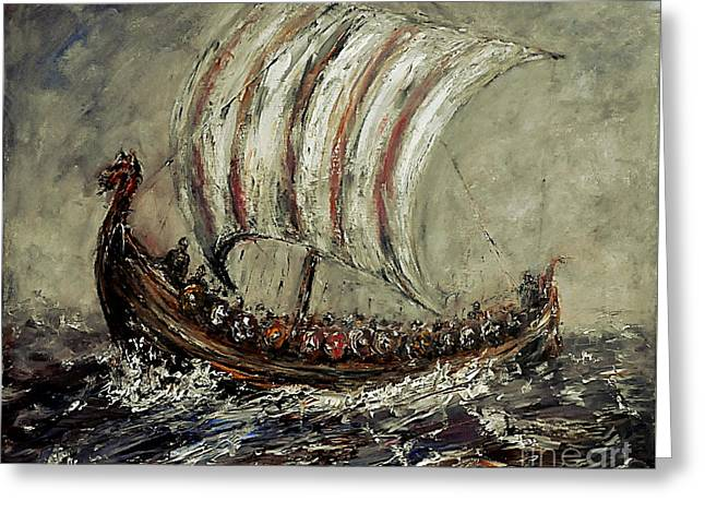 Vikings Paintings Greeting Cards - Norse Explorers Greeting Card by Arturas Slapsys