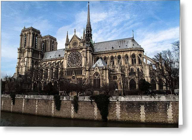 Catherdral Greeting Cards - Norte Dame Cathedral-The South Side Greeting Card by Linda Posnick