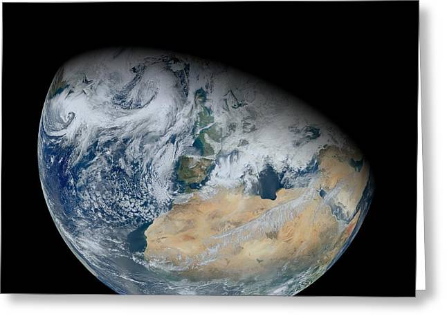 Sahara Sunlight Greeting Cards - North Africa and Europe, satellite image Greeting Card by Science Photo Library