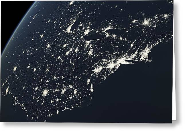 Planet Earth Greeting Cards - North America, eastern seaboard at night Greeting Card by Science Photo Library