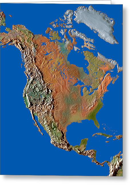 Relief Map Greeting Cards - North America In Relief Greeting Card by Mike Agliolo