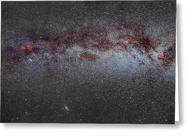 Astronomic Greeting Cards - North America Nebula the Milky way from Cygnus to Perseus and Andromeda galaxy Greeting Card by Guido Montanes Castillo