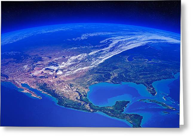 Planet Map Digital Art Greeting Cards - North America seen from space Greeting Card by Johan Swanepoel