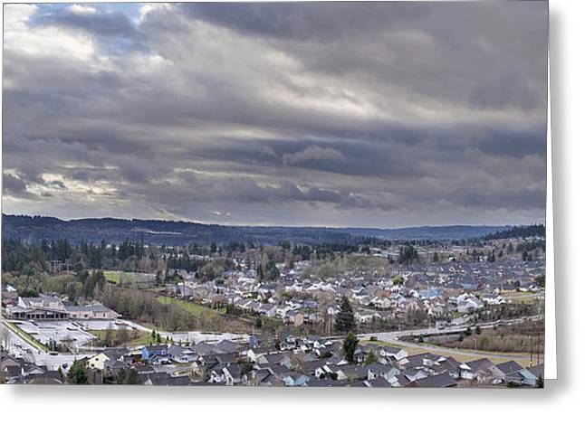 North America Suburban Houses Panorama Greeting Card by JPLDesigns