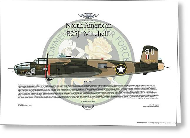 North American B-25J Mitchell Greeting Card by Arthur Eggers
