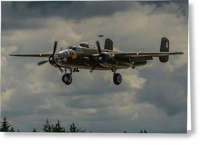 North American B-25j Mitchell Photographs Greeting Cards - North American B-25j Mitchell Greeting Card by Puget  Exposure