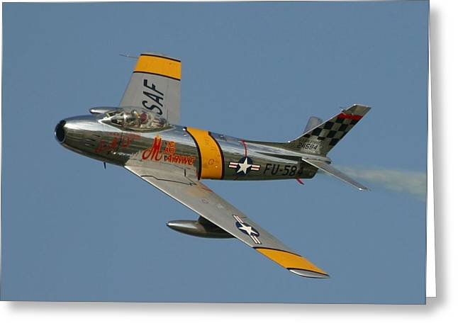 1951 Mixed Media Greeting Cards - North American F 86 Sabre John Glenn Upsized a little Greeting Card by L Brown