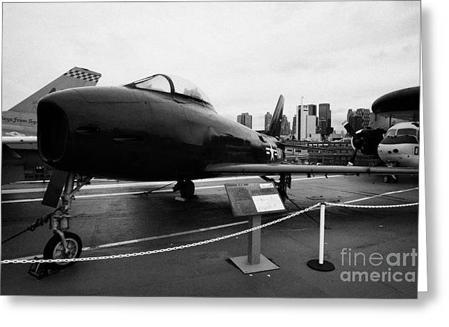 North American Fj3 Fury On Display On The Uss Intrepid Flight Deck At The Intrepid Sea Air Space Mu Greeting Card by Joe Fox