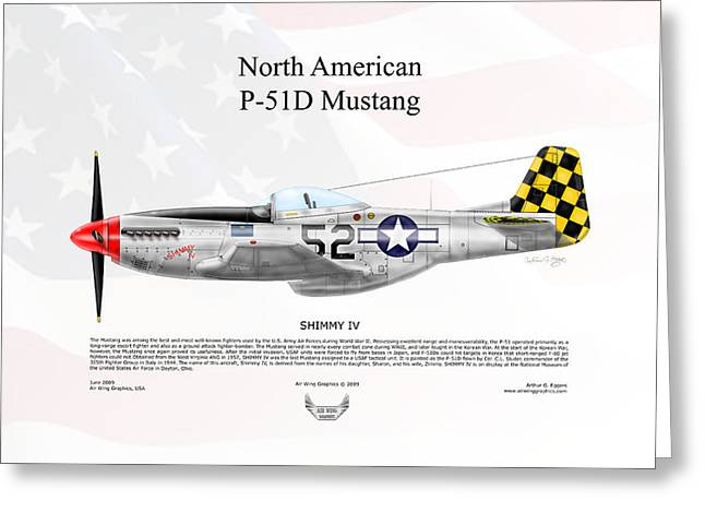 Shimmy Greeting Cards - North American P-51D Mustang Shimmy IV Greeting Card by Arthur Eggers
