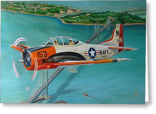 Aeronautical Greeting Cards - North American T-28 Trainer Greeting Card by Stuart Swartz