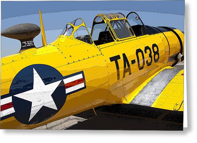 Crop Dusters Greeting Cards - North American T-6 Texan Airplane Greeting Card by Daniel Hagerman