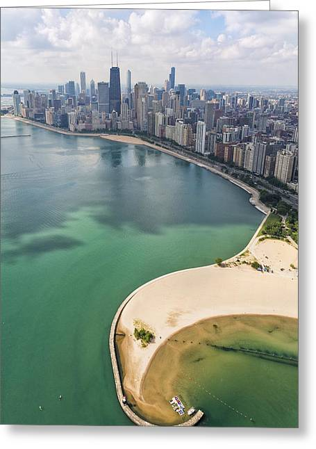 John Hancock Tower Greeting Cards - North Avenue Beach Chicago Aerial Greeting Card by Adam Romanowicz