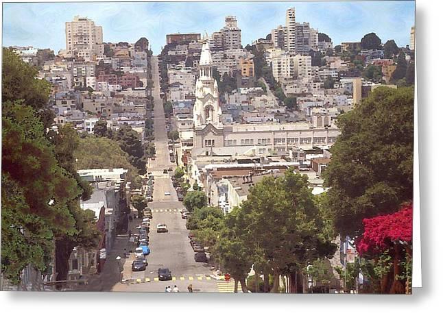 Peter Art Prints Posters Gallery Greeting Cards - North Beach San Francisco - Drawing Illustration Greeting Card by Peter Fine Art Gallery  - Paintings Photos Digital Art