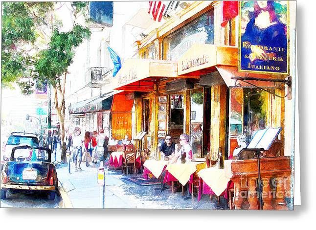 Italian Restaurant Greeting Cards - North Beach Street Scene Outdoor Dining San Francisco 7d7451wcstyle Greeting Card by Wingsdomain Art and Photography