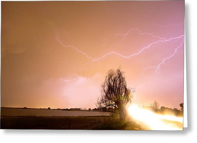 Storm Prints Greeting Cards - North Boulder County Colorado Lightning Strike Greeting Card by James BO  Insogna