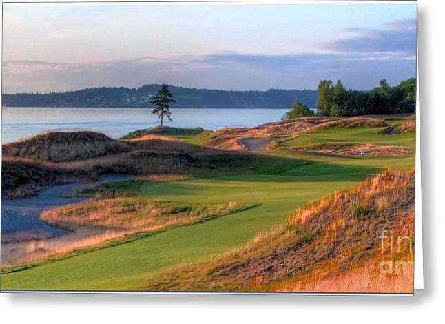 Gloaming Greeting Cards - North by Northwest - Chambers Bay Golf Course Greeting Card by Chris Anderson