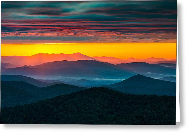 Western North Carolina Greeting Cards - North Carolina Blue Ridge Parkway Morning Majesty Greeting Card by Dave Allen