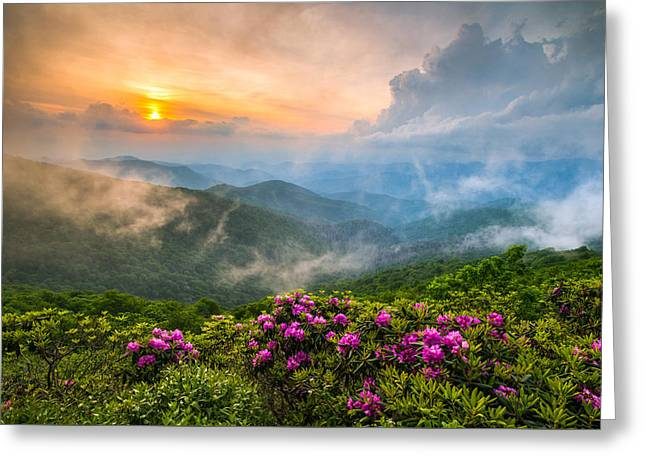 Fine Art Sunrise Greeting Cards - North Carolina Blue Ridge Parkway Spring Appalachian Mountains NC Greeting Card by Dave Allen
